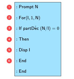 Algorithme liste diviseurs entiers-TI-mathématiques-terminale-S