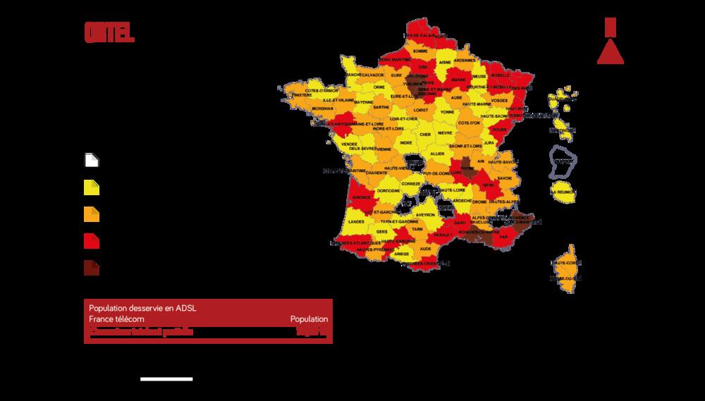 Taux de couverture en ADSL de la population française (données de France Télécom)