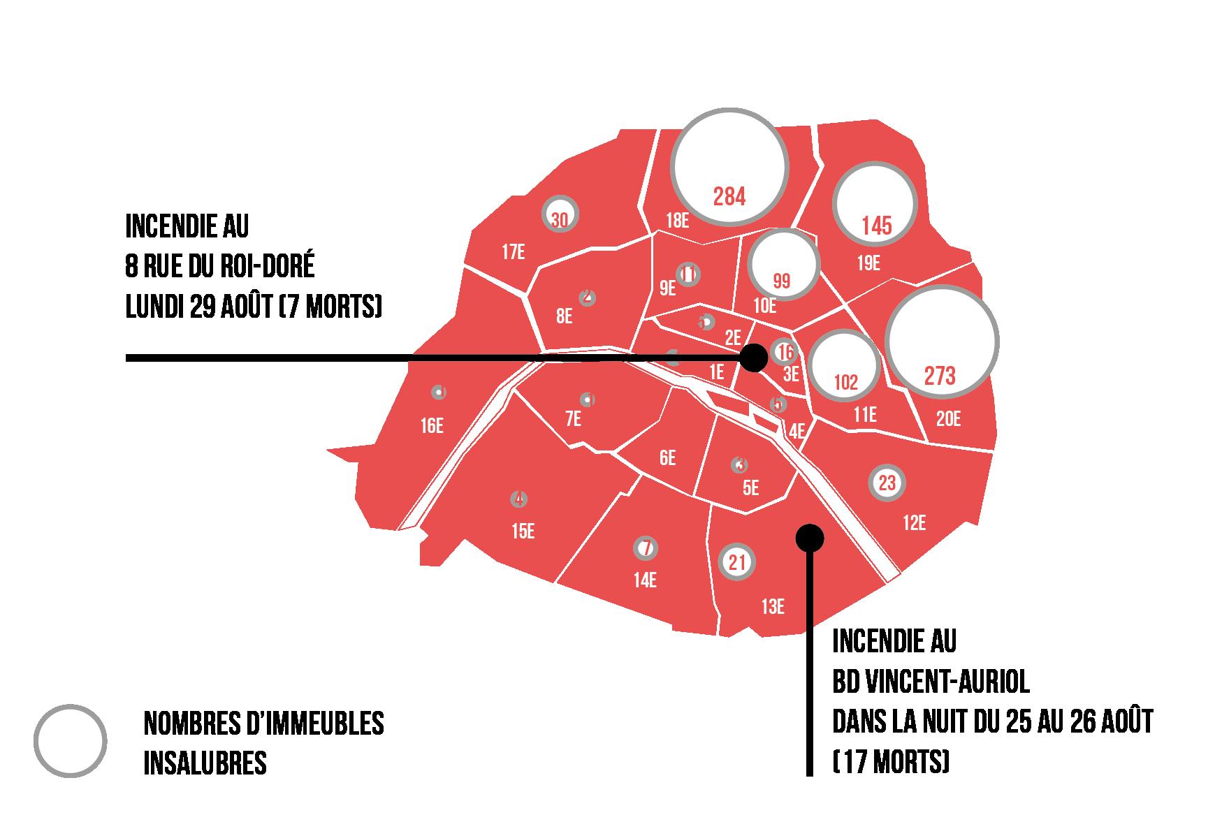 Carte de Paris révélant le taux d'immeubles insalubres par quartier