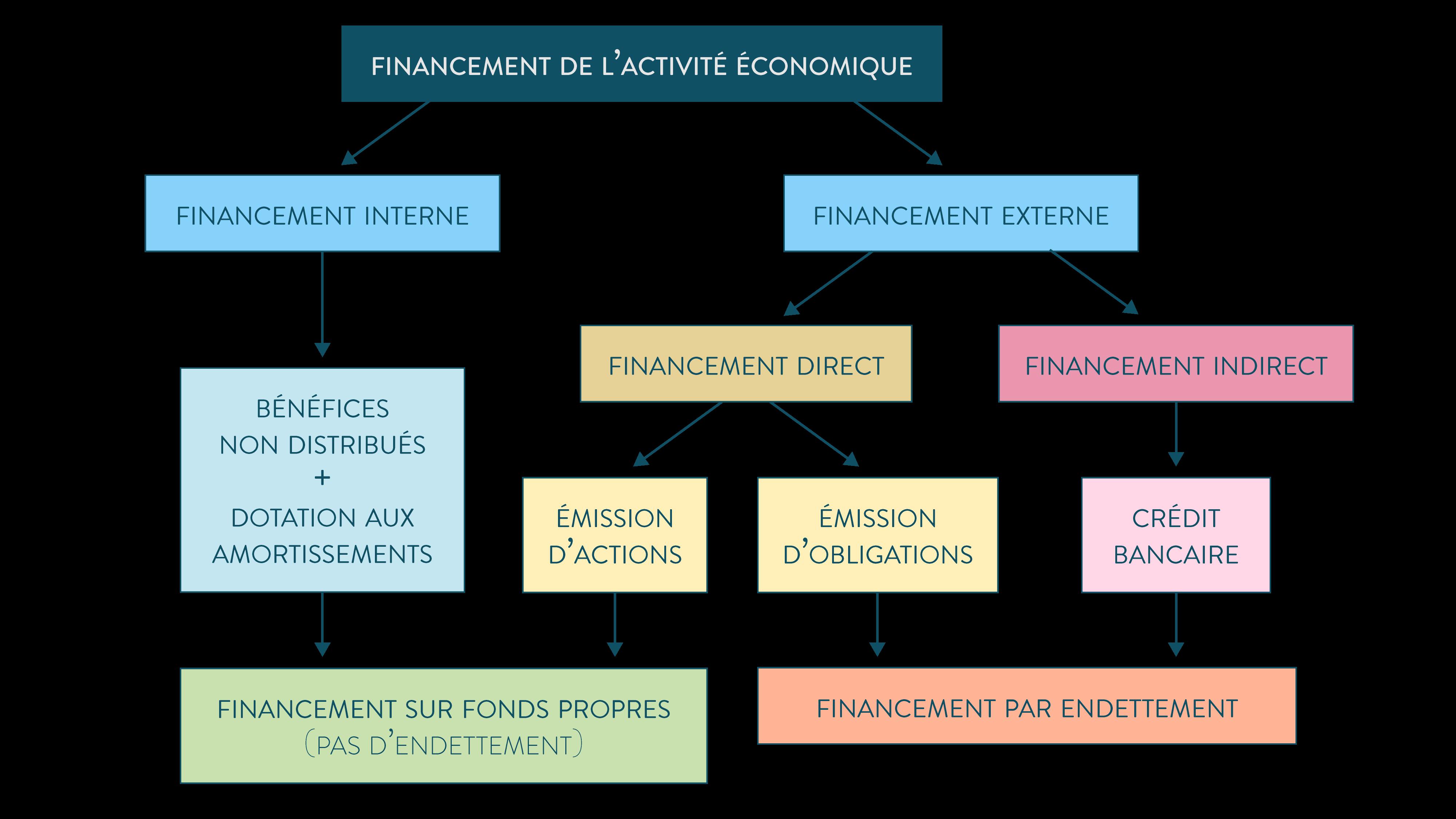 ses première financement de l'activité économique schéma interne externe direct indirect