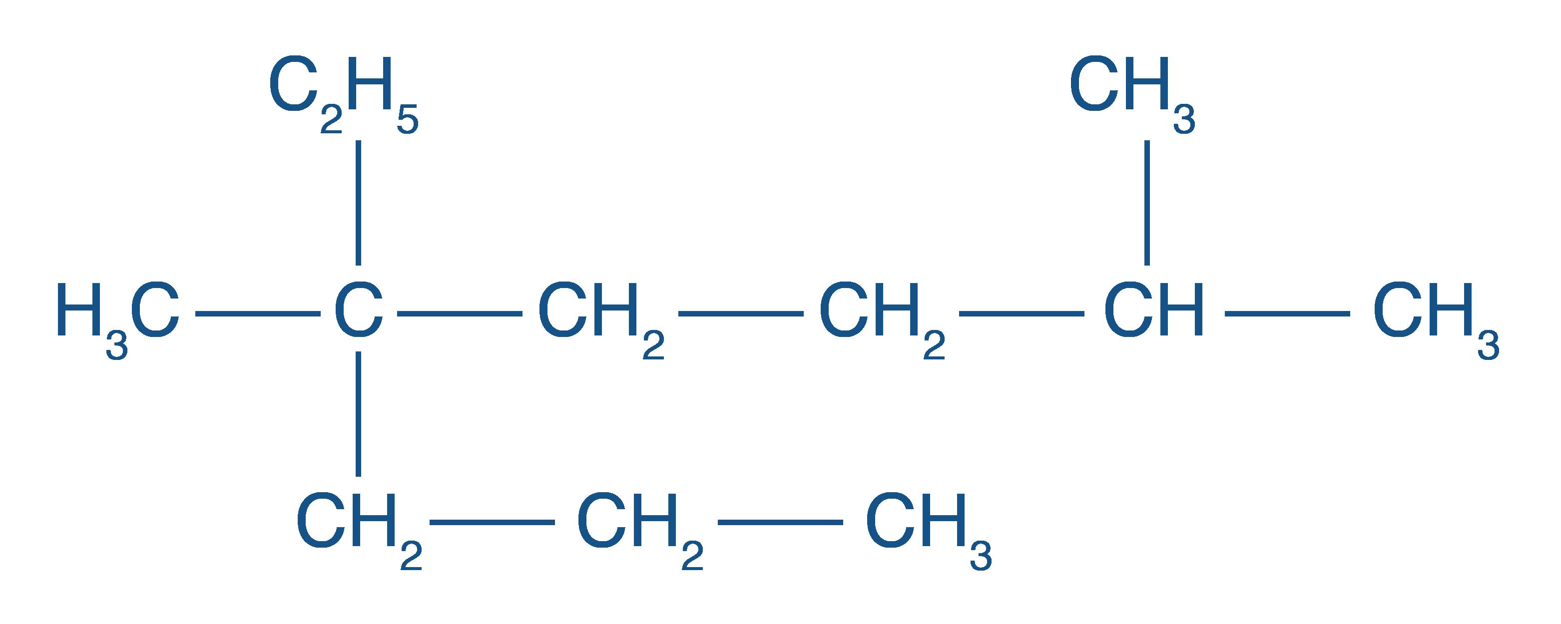 Formule développée du 5-éthyl-2,5-diméthyloctane