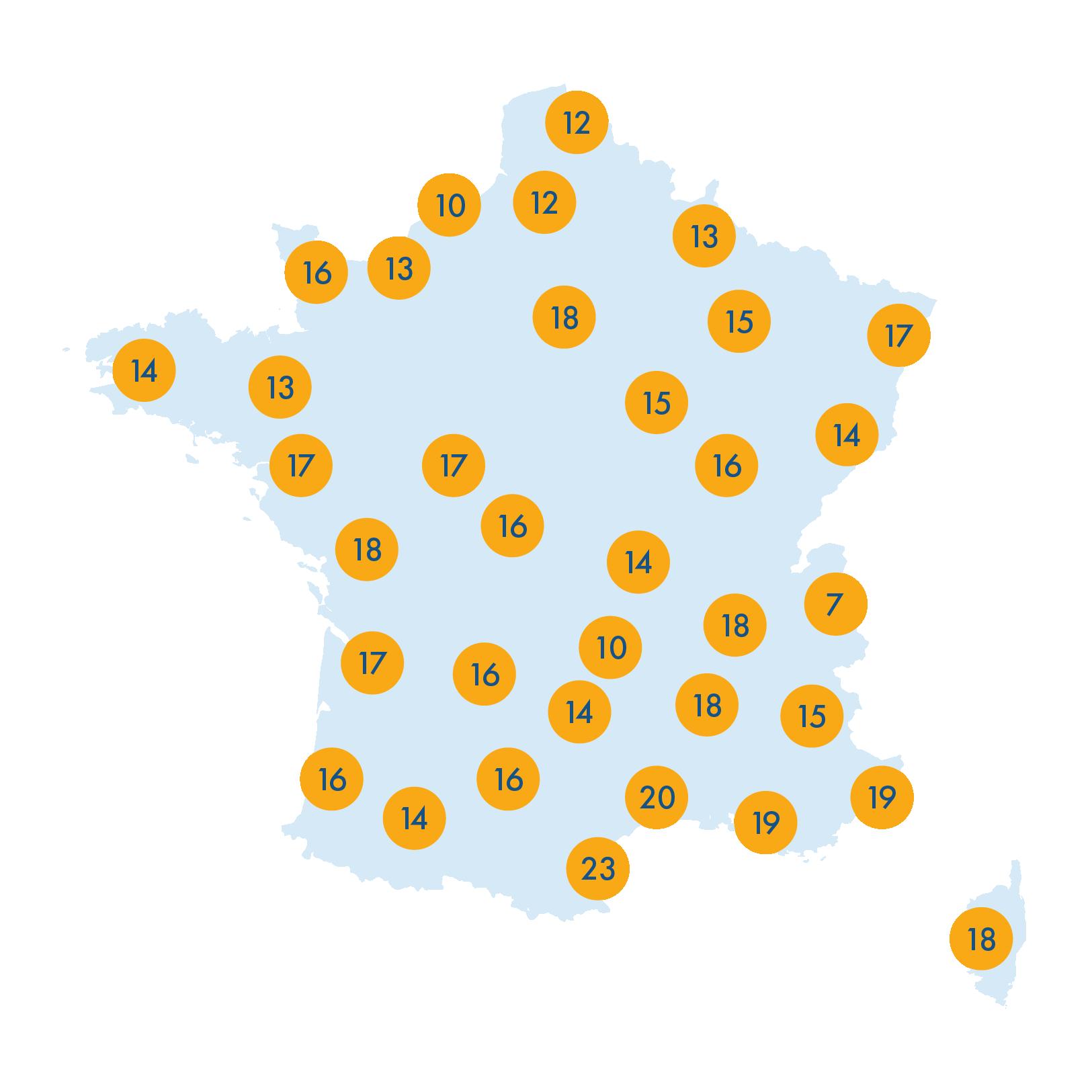 Carte des températures en France