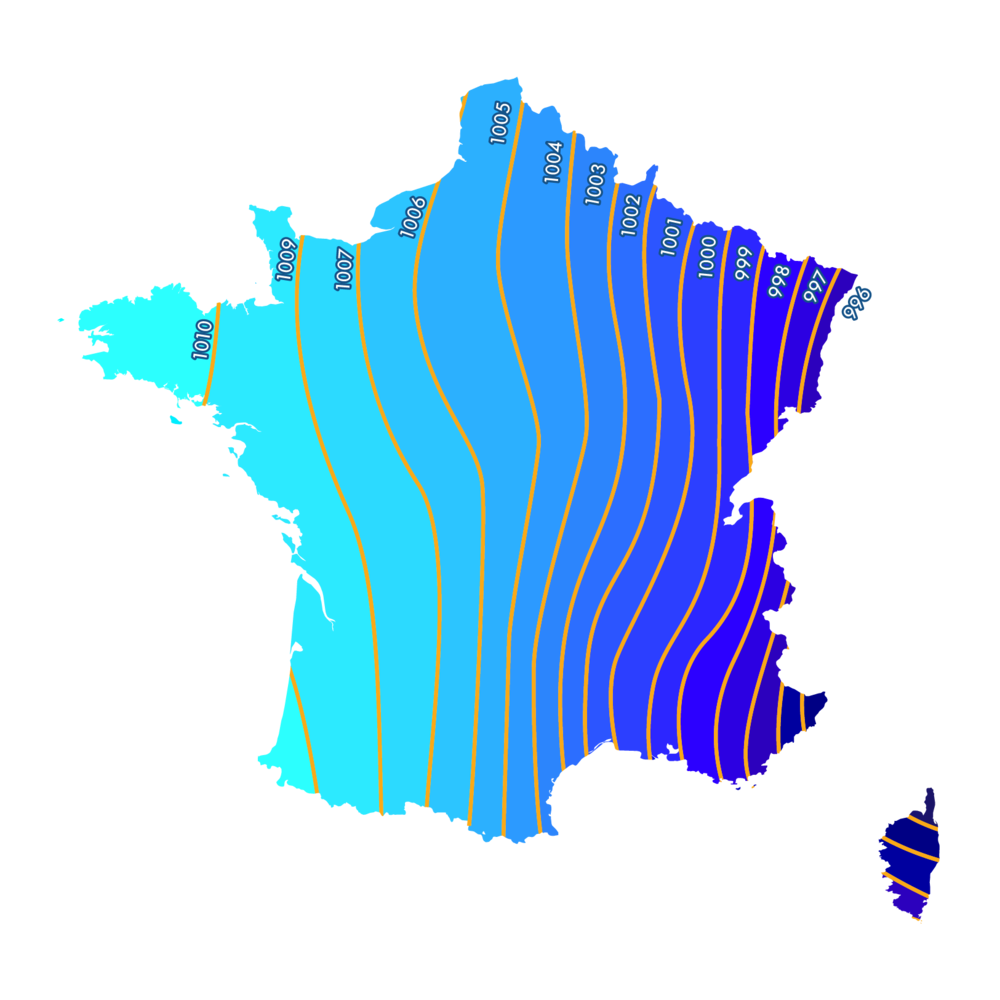 Carte des lignes de champs de pression en France