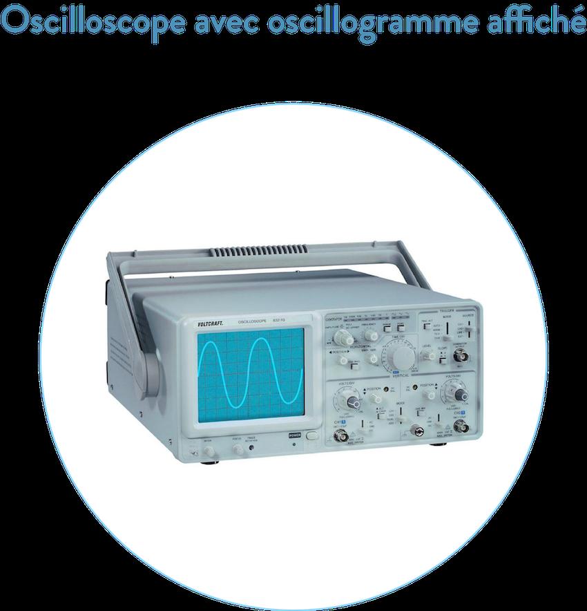 Oscilloscope avec oscillogramme affiché 2nde