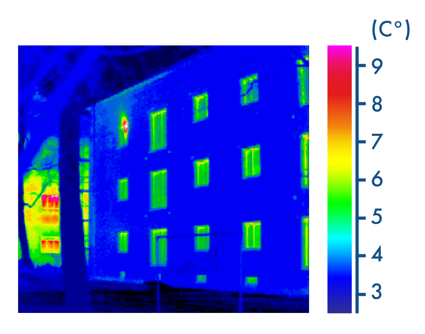 Thermographie d'une façade d'immeuble (fausse échelle de couleurs) 2nde