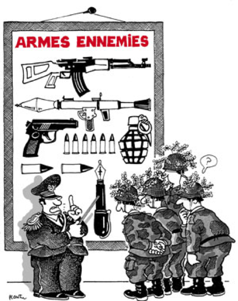 Plantu, «Les armes ennemies», Les cours du caoutchouc sont trop élastiques, 1982, tous droits réservés