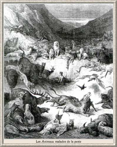Illustration de Gustave Doré pour la fables de La Fontaine «Les animaux malades de la peste»