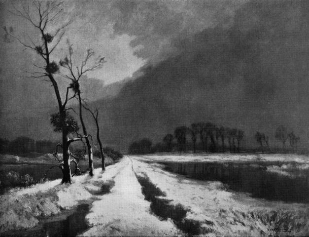 L'hiver au marais, effet de neige, Léon Broquet, 1912
