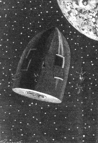 Autour du projectile, illustration du roman de JulesVerne Autour de la Lune par HenriThéophile Hildibrand, ÉmileBayard et Alphonse deNeuville, 1872
