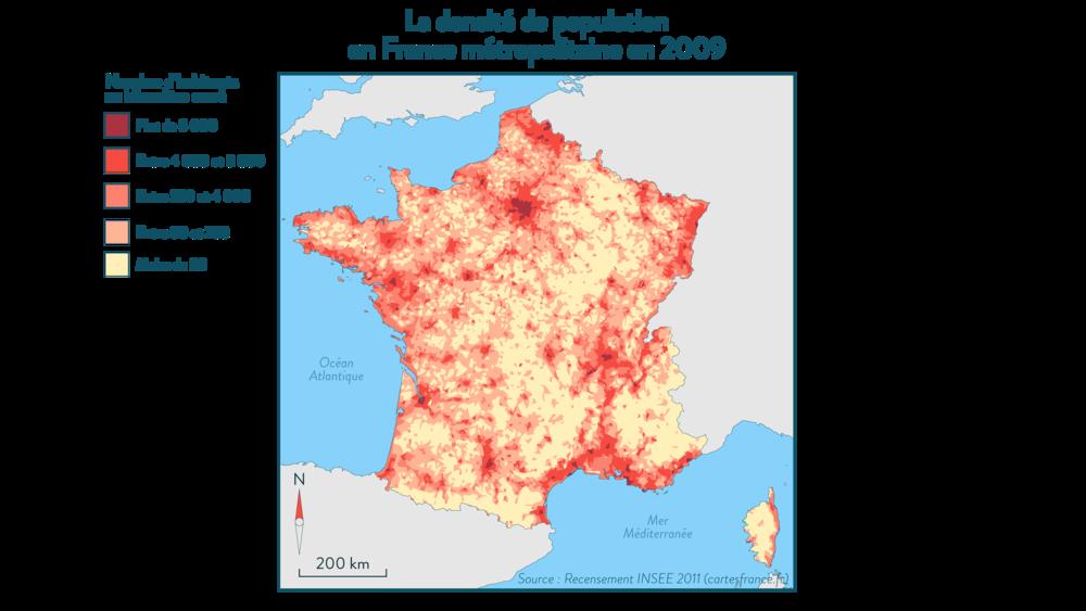 La densité de la population en France métropolitaine en 2009 - géographe 3e