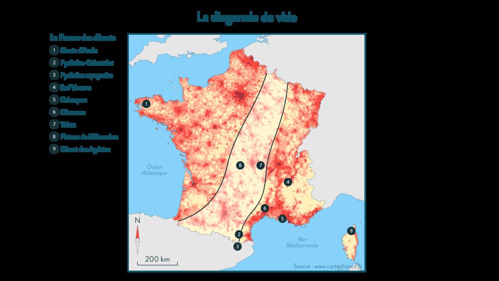 La «diagonale du vide» géographie 3e