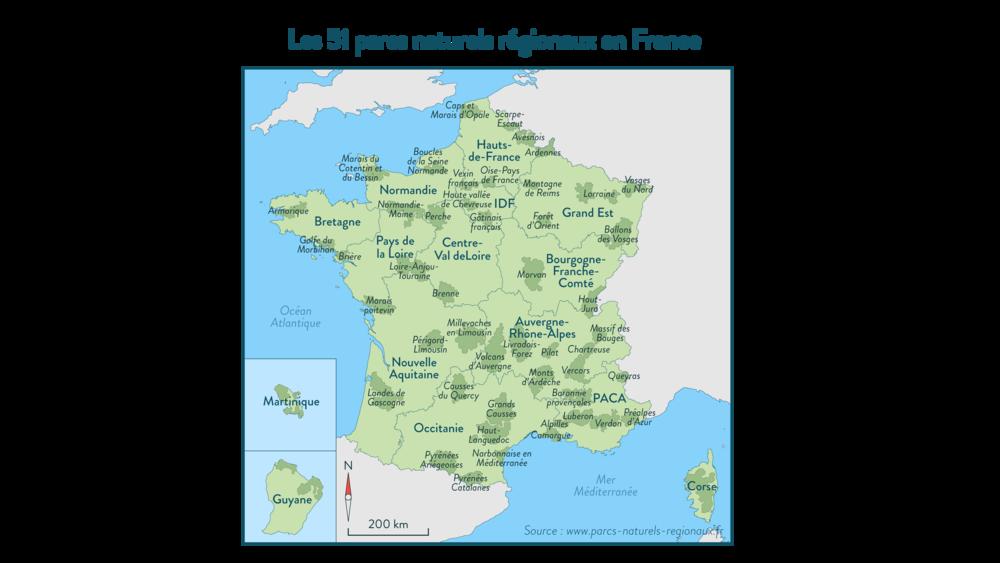 Les51 parcs naturels régionaux de France - géographie - 3e
