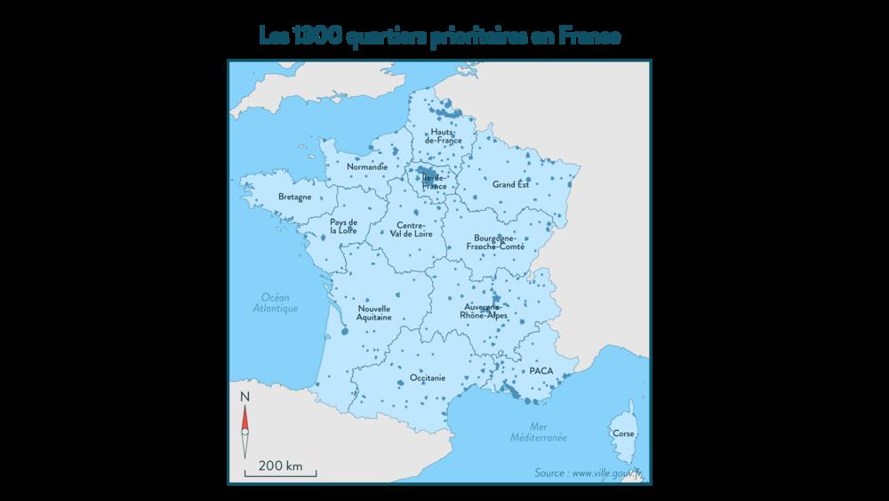 Les 1300 quartiers prioritaires en France - géographie - 3e