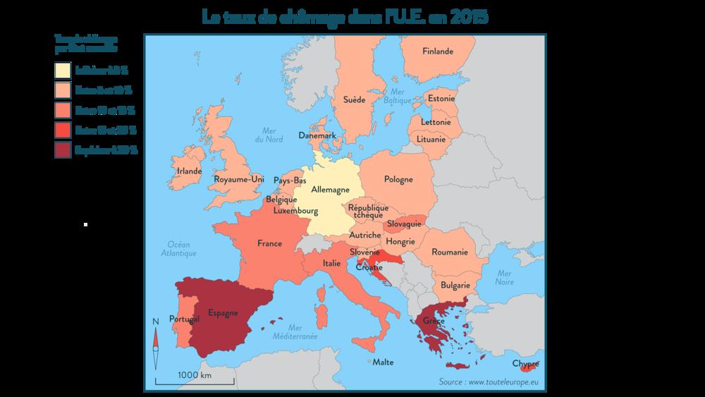 Le taux de chômage dans l'UE en 2015 géographie 3e