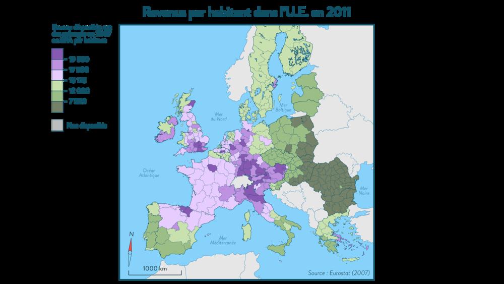 Carte des revenus par habitant dans l'UE en 2011 géographie 3e
