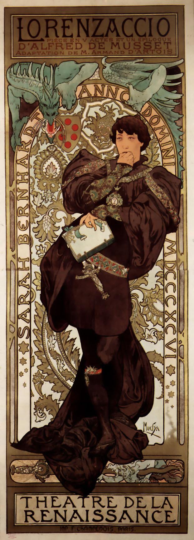 Lorenzaccio, Affiche de théâtre d'Alfons Mucha pour le théâtre de la Renaissance, 1896.