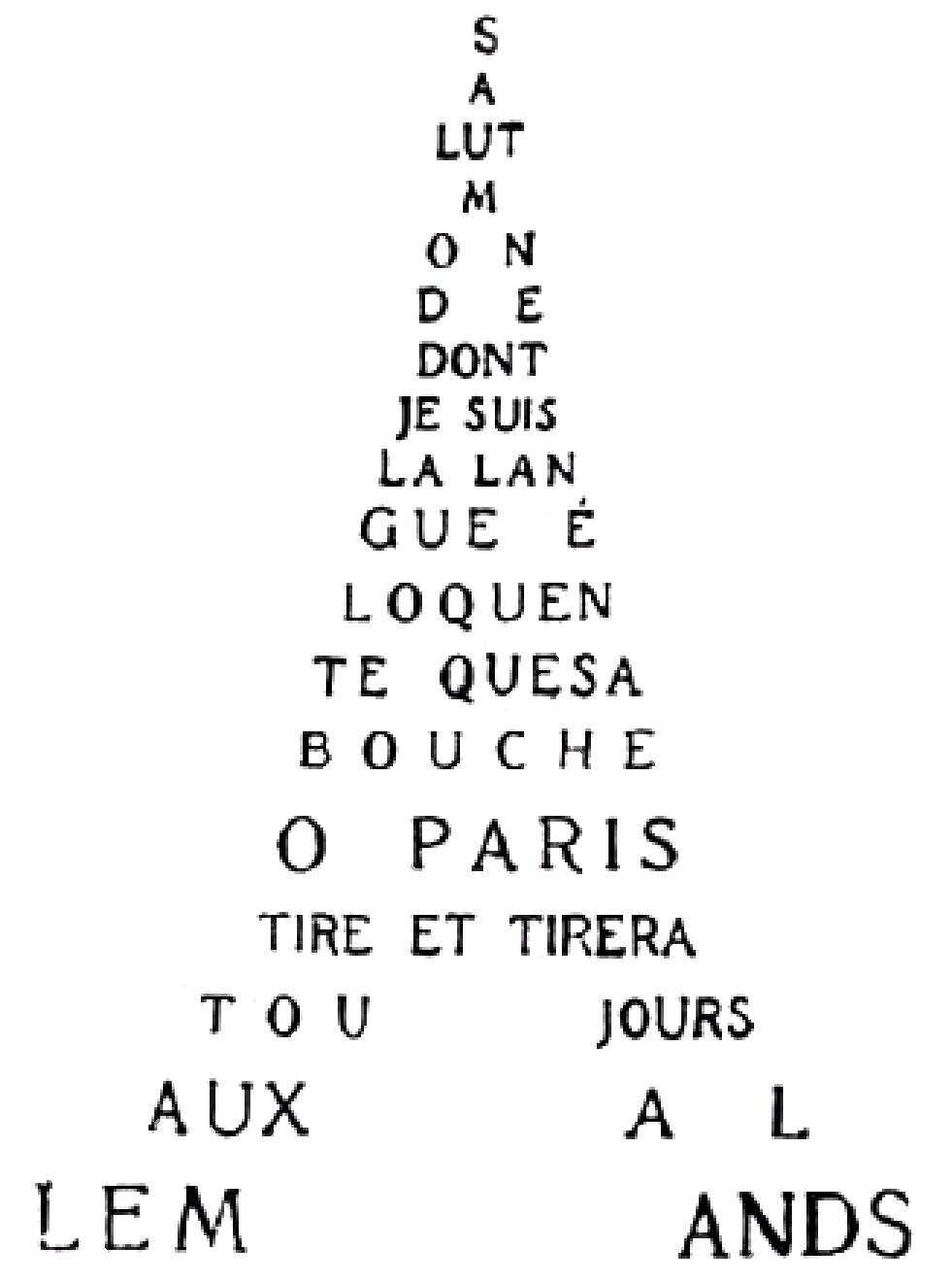 « Calligramme de la tour Eiffel », Calligrammes, poèmes de la paix et de la guerre 1913-1916, Guillaume Apollinaire, 1918.
