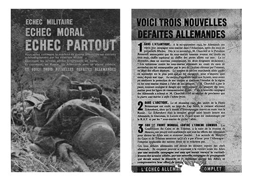 Recto et verso d'un tract allié lancé par avion sur Vierzon en janvier1944