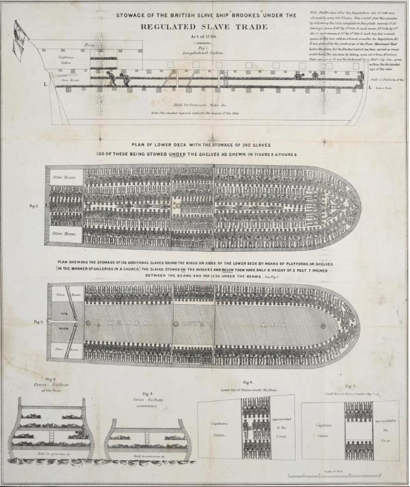 Alt Coupe d'un bateau négrier dans lequel sont entassés les esclaves, 1789