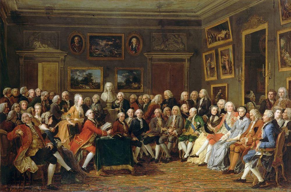 Alt Lecture de la tragédie de L'Orphelin de la Chine dans le salon de madame Geoffrin, Anicet Lemonnier, 1812