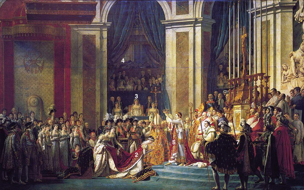 Le sacre de l'empereur Napoléon Ier et le couronnement de Joséphine à Notre-Dame de Paris le 2 décembre 1804, Jacques-Louis David, huile sur toile, 1805-1807, musée du Louvre, Paris
