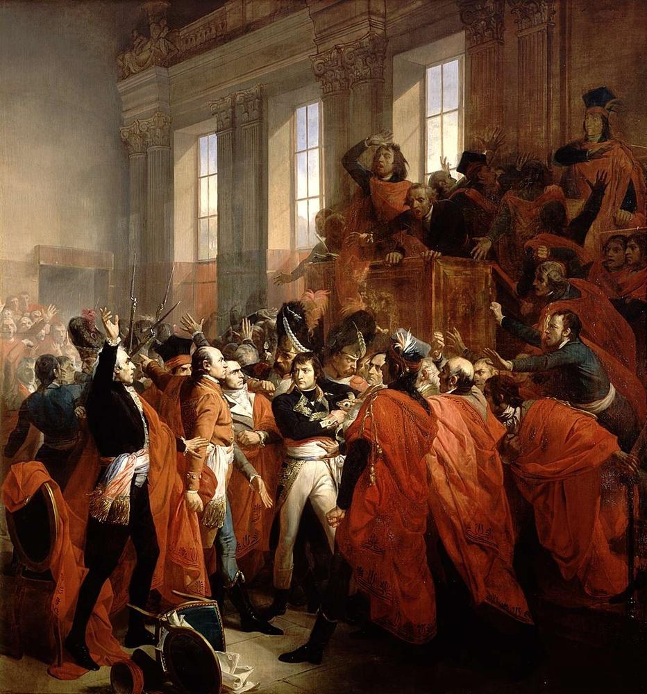 Alt Le général Bonaparte au Conseil des Cinq-Cents, à Saint-Cloud, 19brumaire, anVIII, François Bouchot,1840