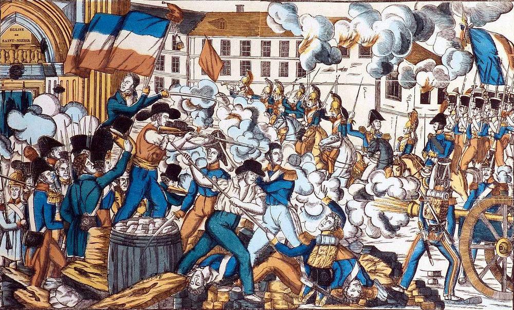 Alt Bataille dans les rues de Lyon devant l'église de Saint-Nizier - Révolte des Canuts en octobre1831, XIX<sup>e</sup>siècle