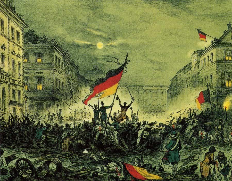 Alt Révolutionnaires brandissant le drapeau allemand le18 mars1848 à Berlin