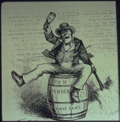 Alt Caricature d'un Irlandais aux États-Unis au XIX<sup>e</sup>siècle