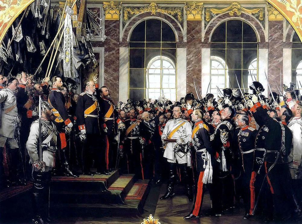 Alt Proclamation du roi de Prusse GuillaumeI<sup>er</sup>comme empereur d'Allemagne à Versailles, par Anton von Werner,1885