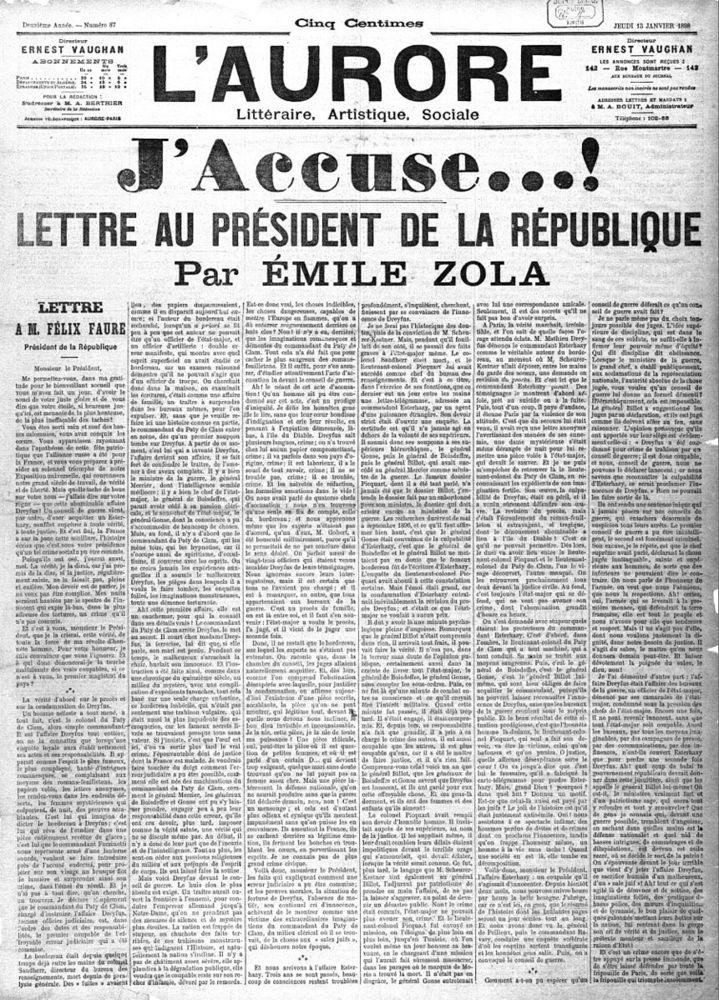 Alt J'accuse, pamphlet d'Emile Zola paru à la une du journal l'Aurore,1898