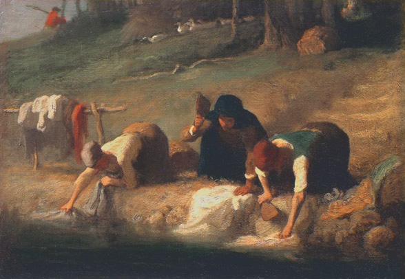 Alt Les lavandières,Jean-François Millet ,1857