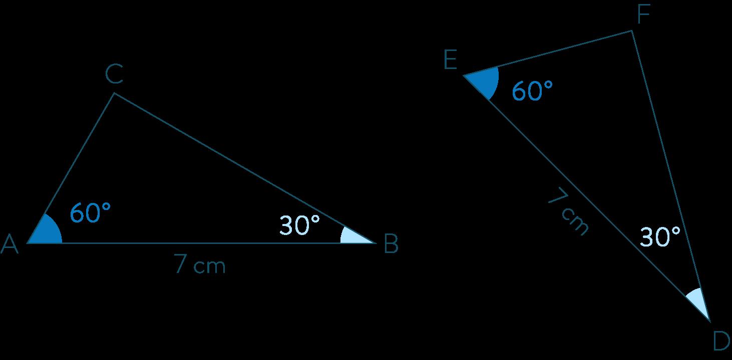 Triangles ABC et EDF-Mathématiques-4e