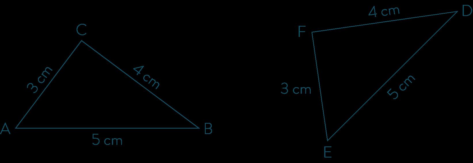 Triangles superposables ABC et EDF- Mathématiques-4e