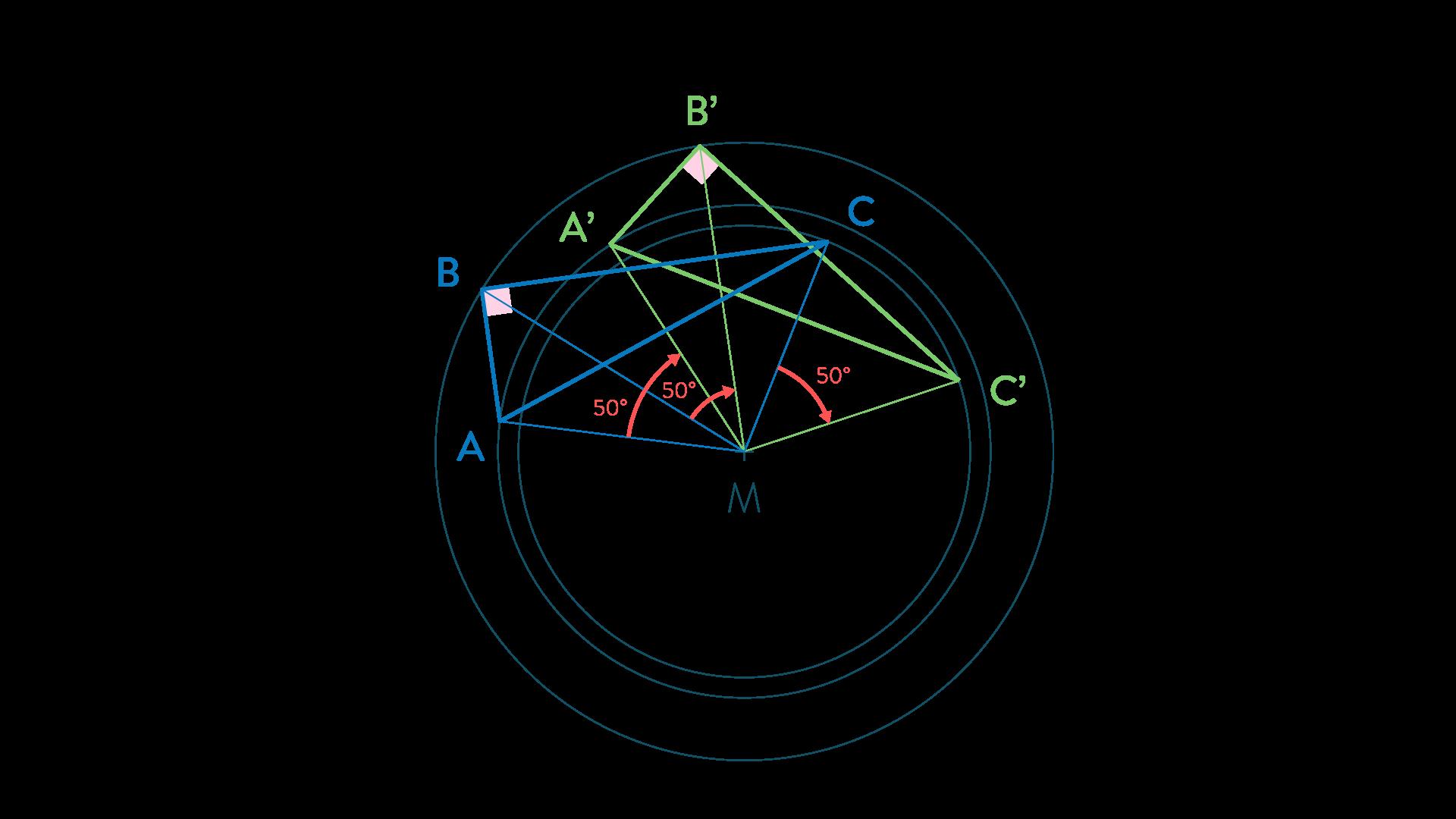 Construire l'image d'un triangle par rotation-Mathématiques-4e