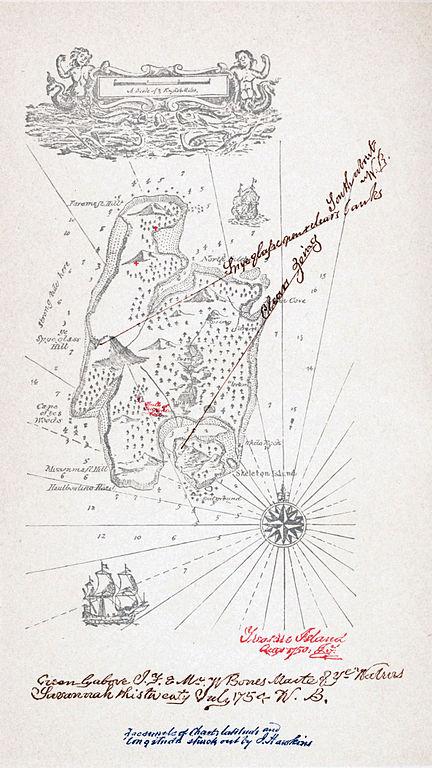 Carte réalisée par Robert Louis Stevenson, 1883