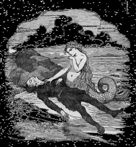 Vignette de Bertall représentant la petite sirène et le prince, XIX<sup>e</sup>siècle
