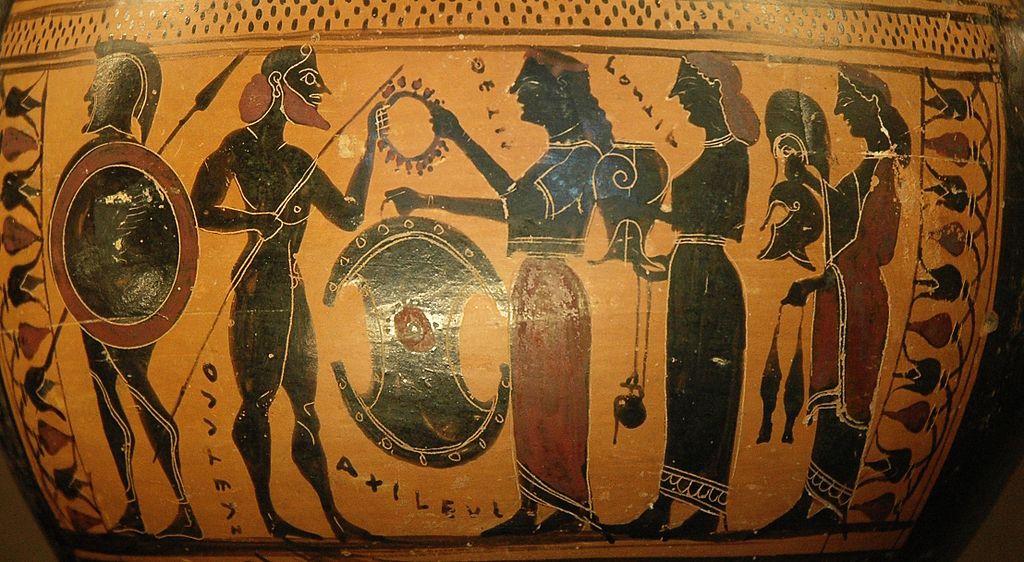 Thétisdonne à son fils Achille ses armes nouvellement forgées parHéphaïstos, détail d'unehydrieattiqueà figures noires, vers.575 et 550 av.J.-C.,musée du Louvre