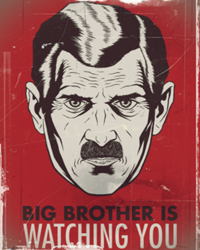 Représentation de Big Brother, le dictateur de <em>1984</em>, par George Orwell
