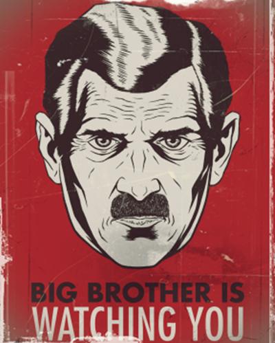 Représentation de Big Brother, le dictateur de <em>1984</em>, par George Orwell
