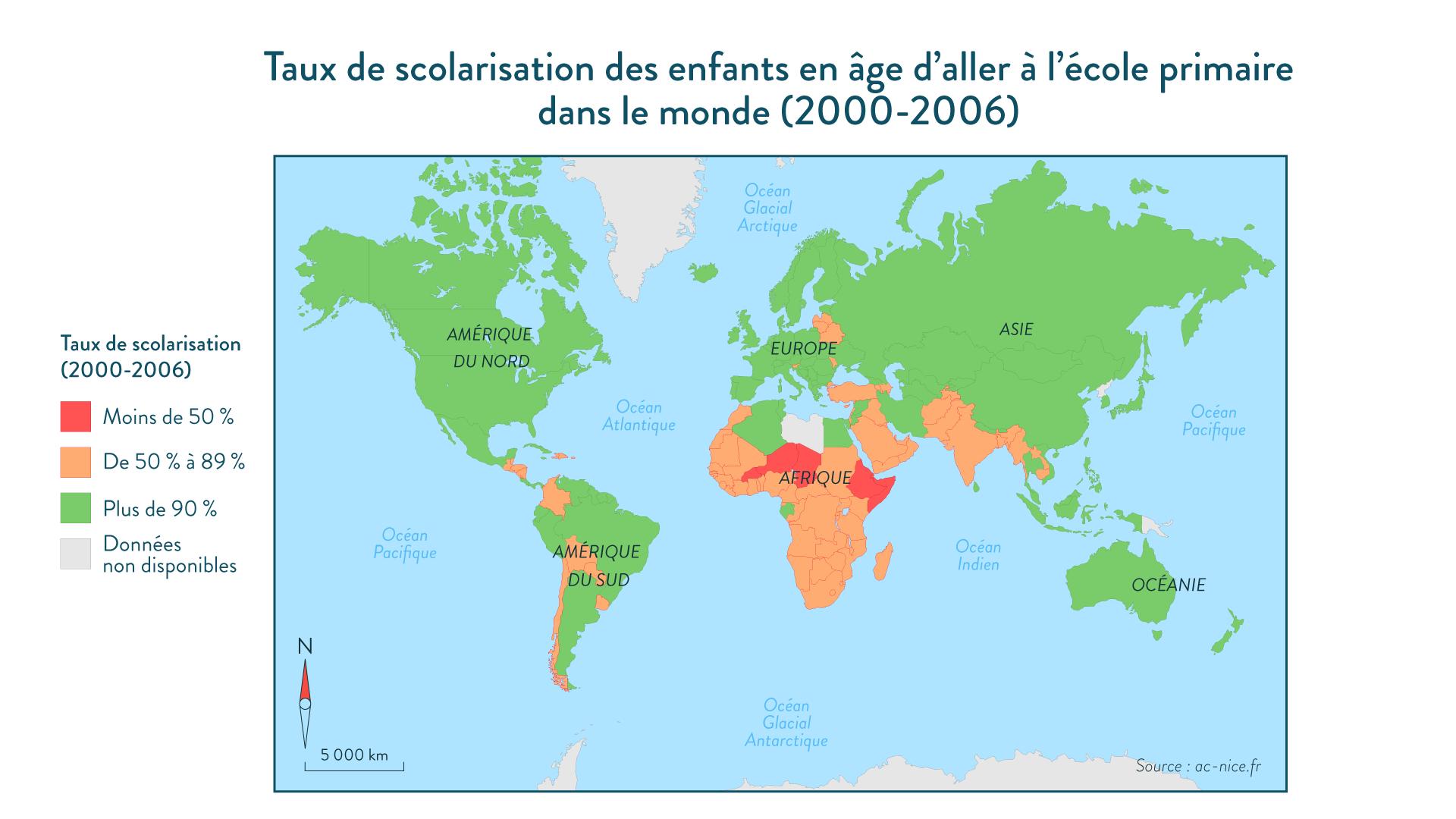 Taux de scolarisation des enfants en âge d'aller à l'école primaire dans le monde (2000-2006) géographie cinquième