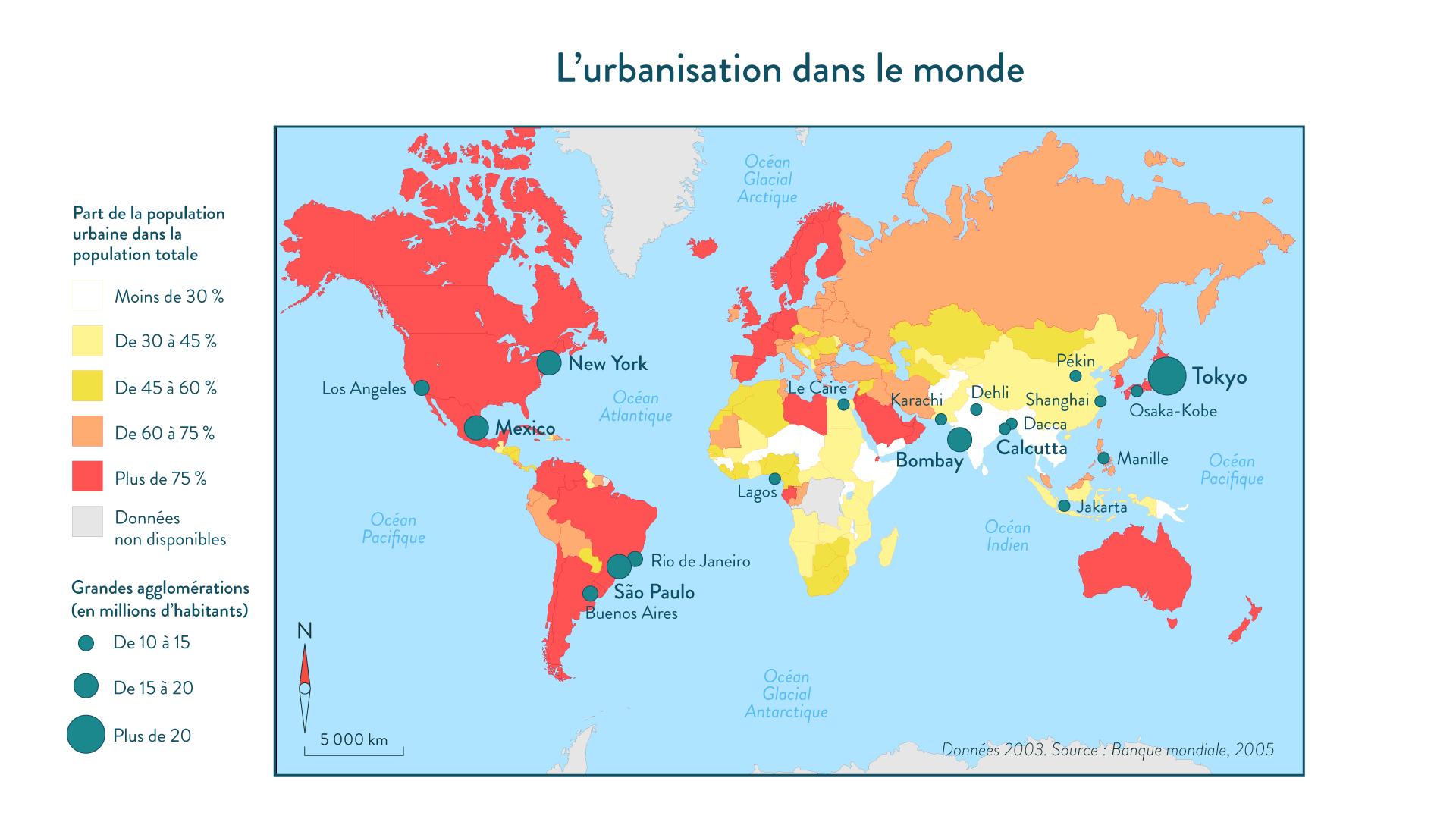 L'urbanisation dans le monde géographie cinquième