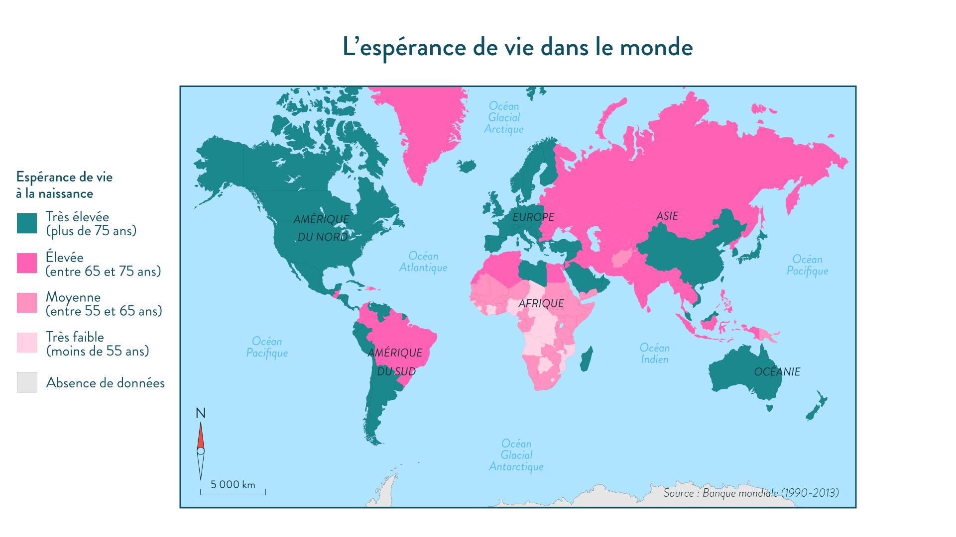 L'espérance de vie dans le monde. Source: Banque mondiale (1990-2013)
