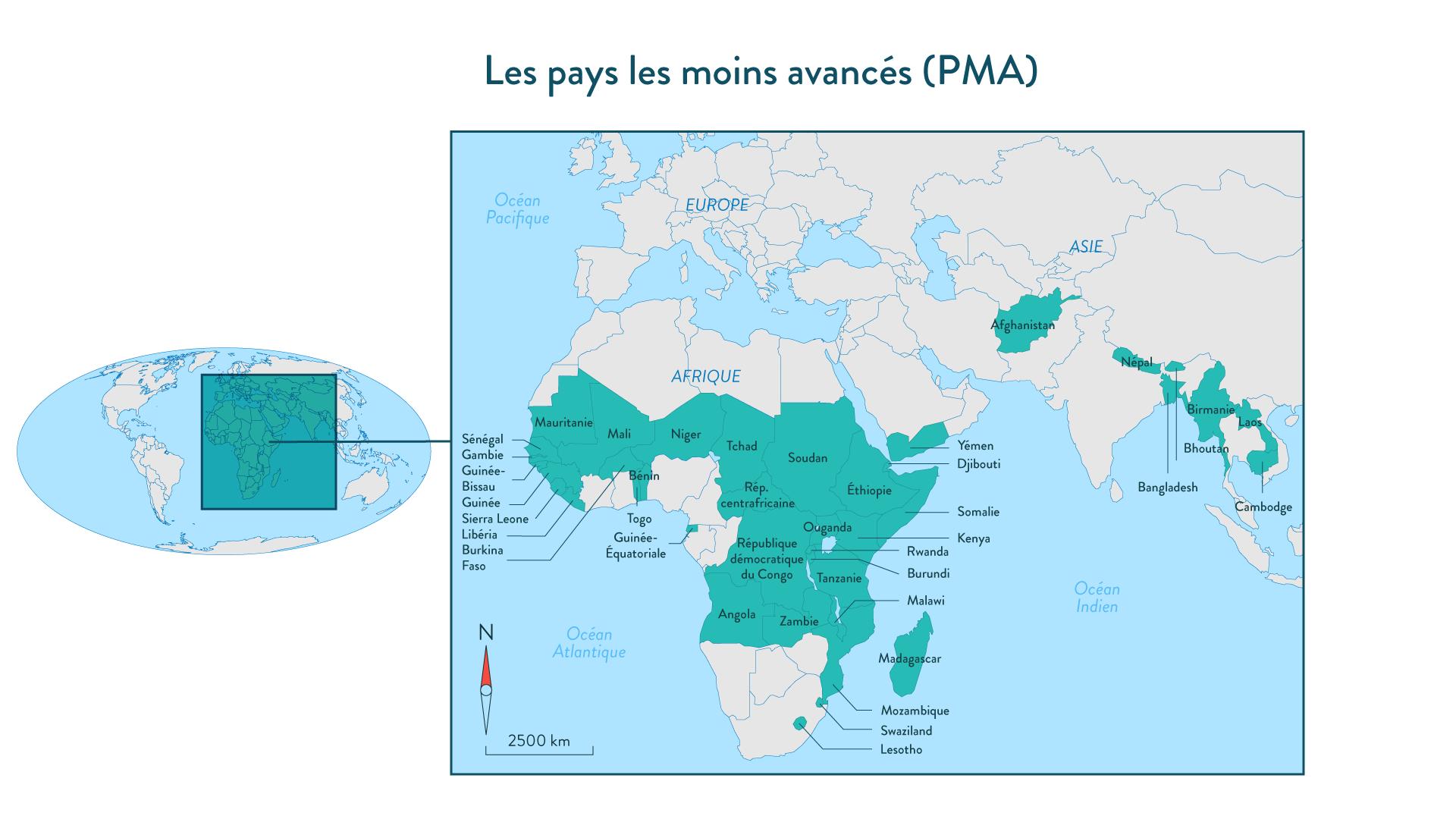 Les pays les moins avancés (PMA) géographie cinquième