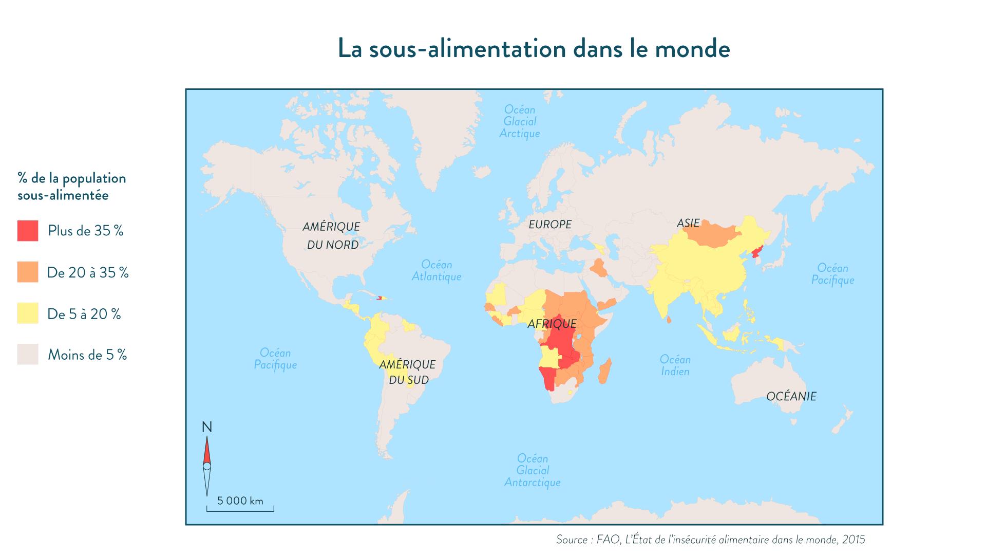 La sous-alimentation dans le monde géographie cinquième