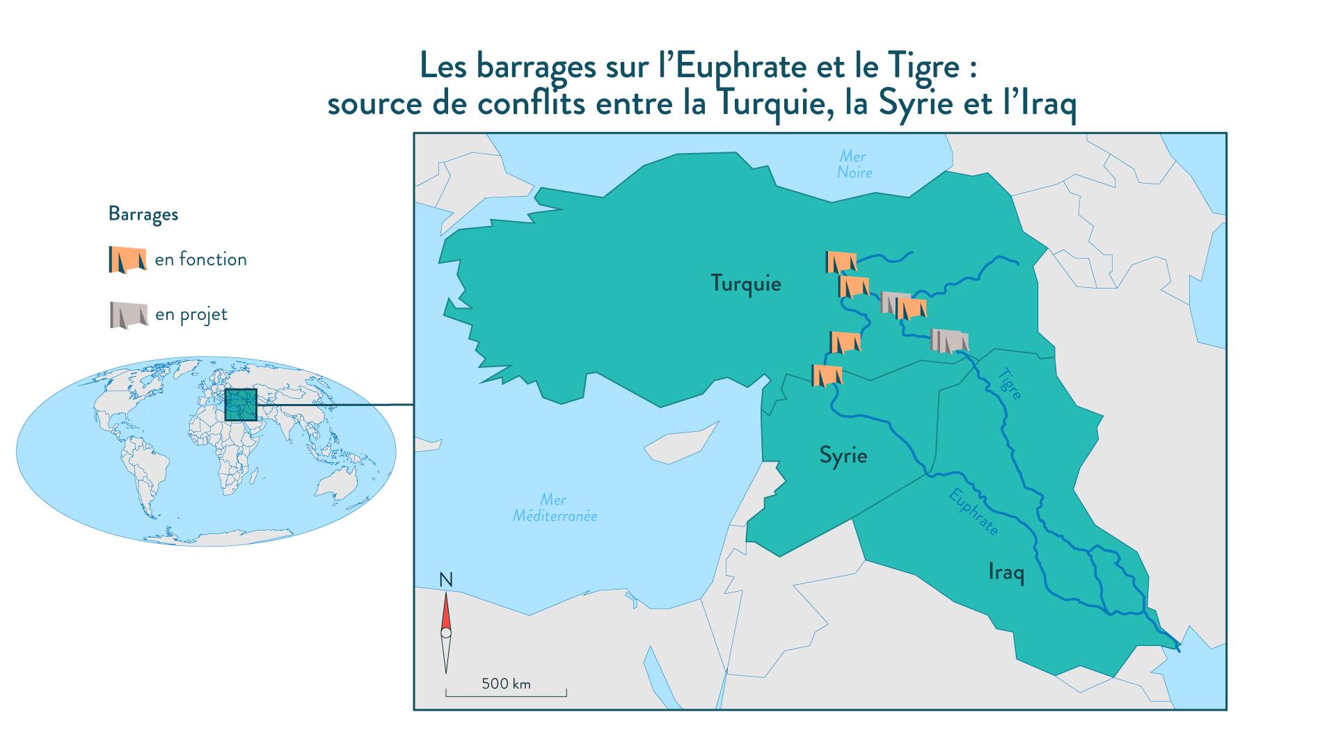 Les barrages sur l'Euphrate et le Tigre: source de conflits entre la Turquie, la Syrie et l'Iraq géographie cinquième