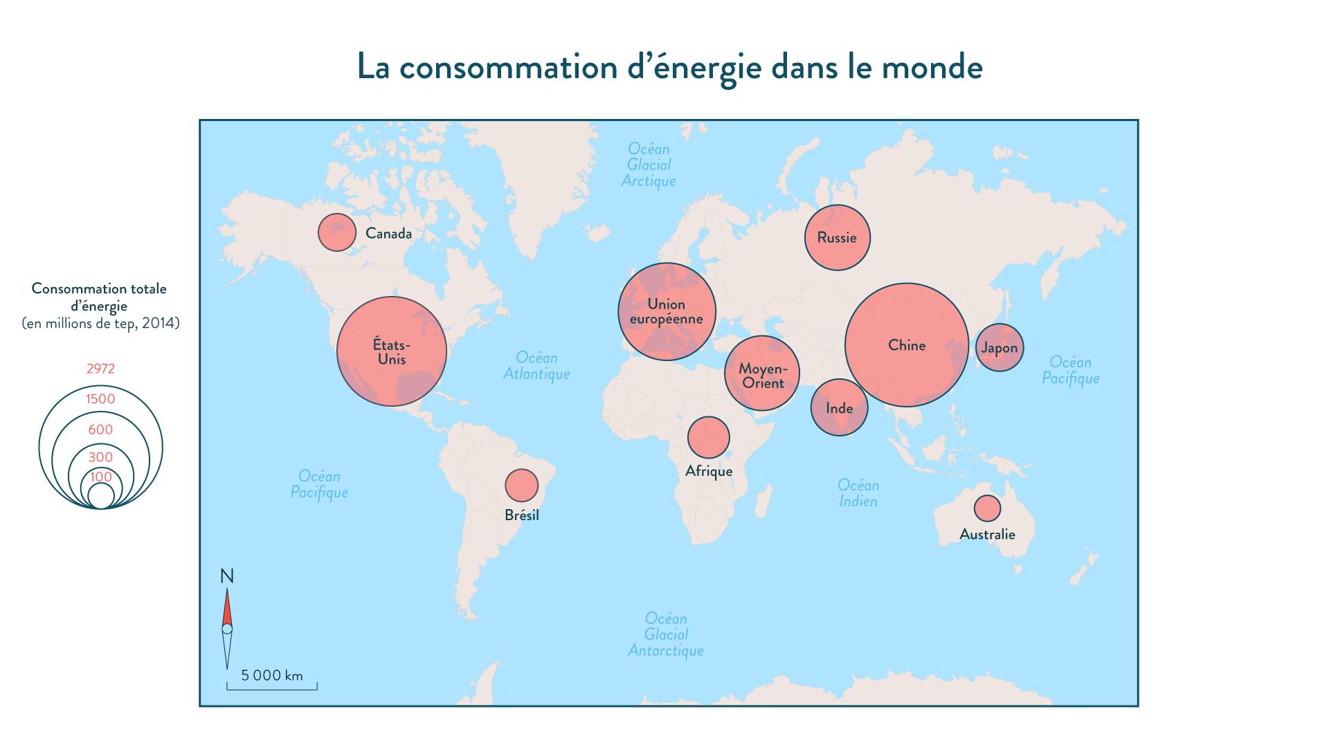 La consommation d'énergie dans le monde géographie cinquième
