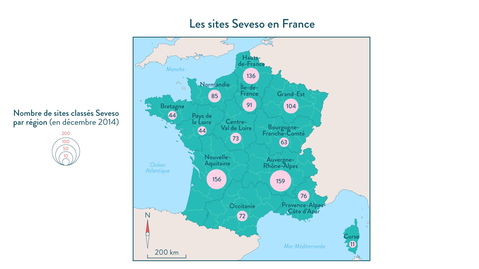 Les sites Seveso en France géographie cinquième