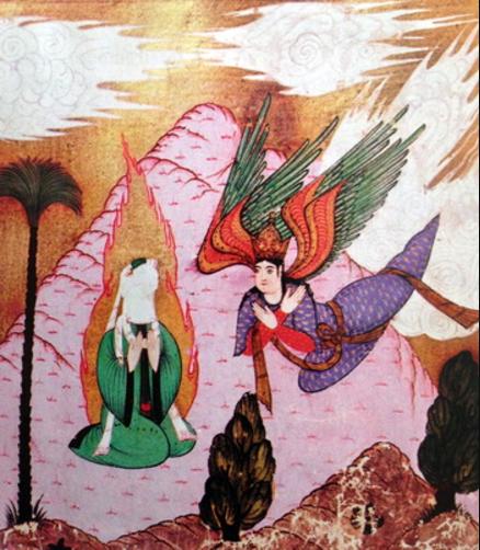 Mahomet sur le mont Hira, miniature de Lutfi Abdullad, XVI<sup>e</sup>&nbsp;siècle, Musée de Topkapi, Istanbul