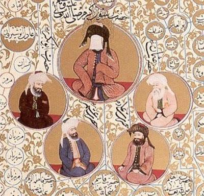 Mahomet entouré de ses premiers successeurs (632-661). Miniature ottomane du XV<sup>e</sup> siècle, Bibliothèque nationale du Caire